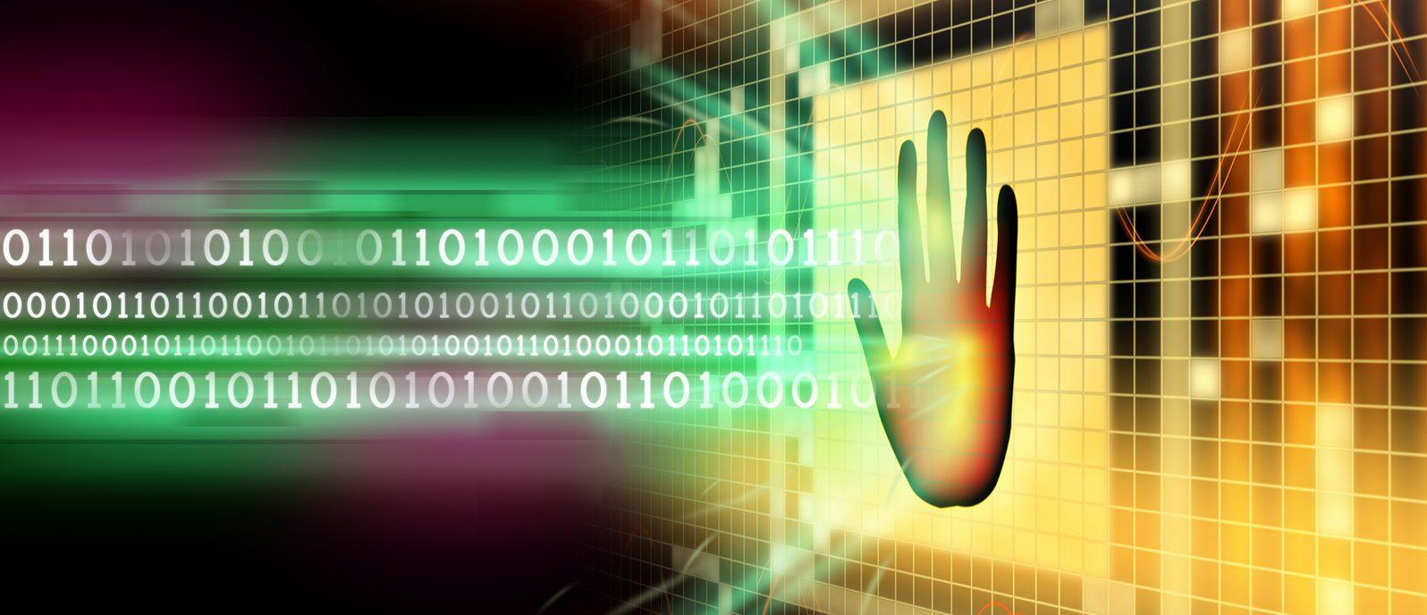Software protection blocking a binary code stream. Digital illustration.
